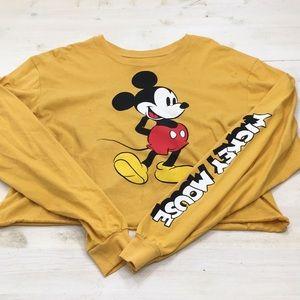 Disney cropped Mickey Mouse long sleeve tee sz XL